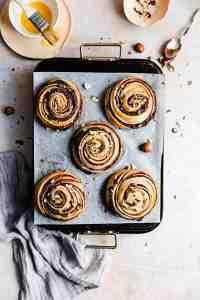 overhead shot of hazelnut swirl buns
