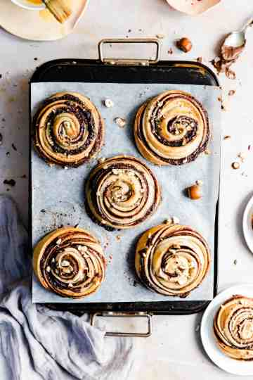 top view of baked buns with hazelnuts