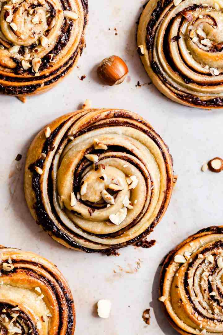 overhead close up at hazelnut swirl bun