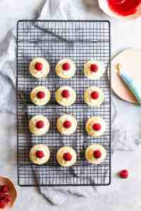 overhead shot of 12 individual cheesecake bites topped with fresh raspberries