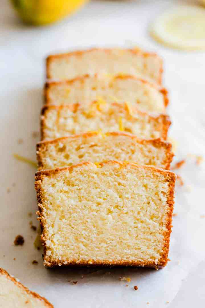 close up of slices of lemon cake
