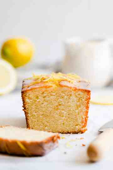 straight ahead close up of lemon cake loaf
