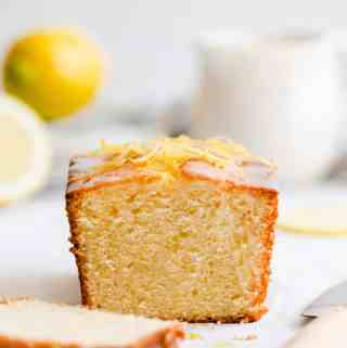 straight ahead close up of lemon cake loaf