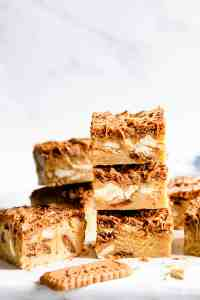 straight ahead shot of blondie bars stacked on top of each other