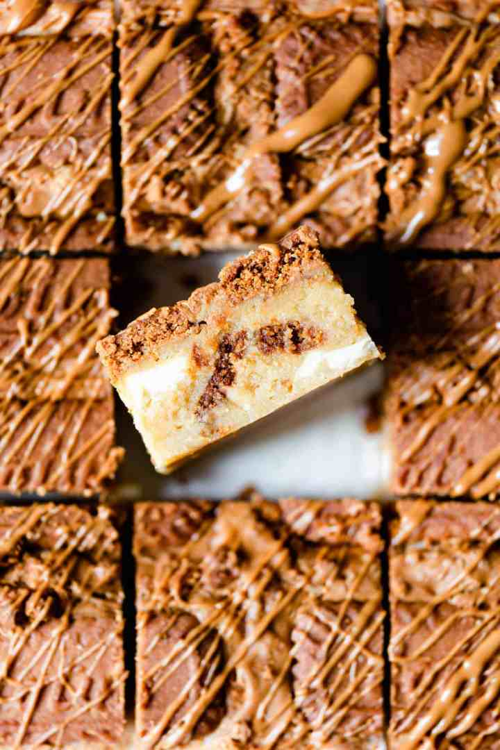 top view super close up at a biscoff blondie revealing its texture