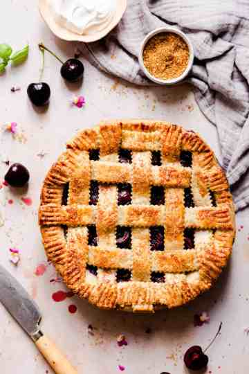 top view of pie with lattice pattern on top