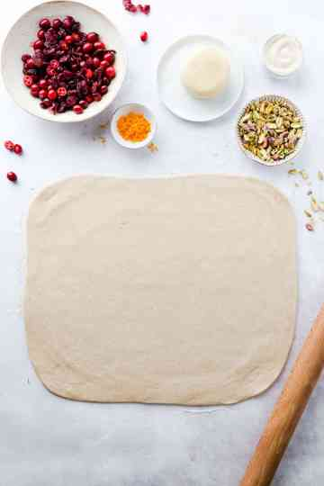 top view of a dough rolled into rectangle