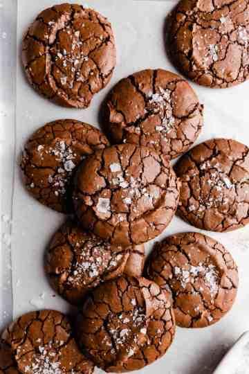 top view close up at brownie cookies with sea salt