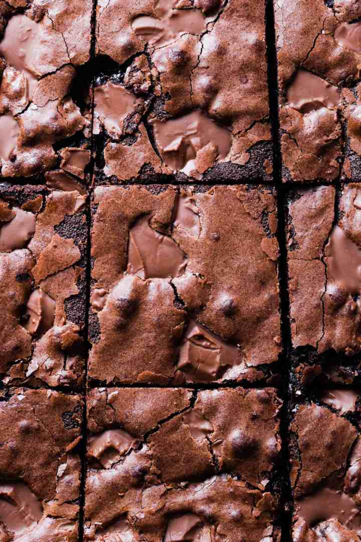 overhead close up of chocolate brownies sliced into squares