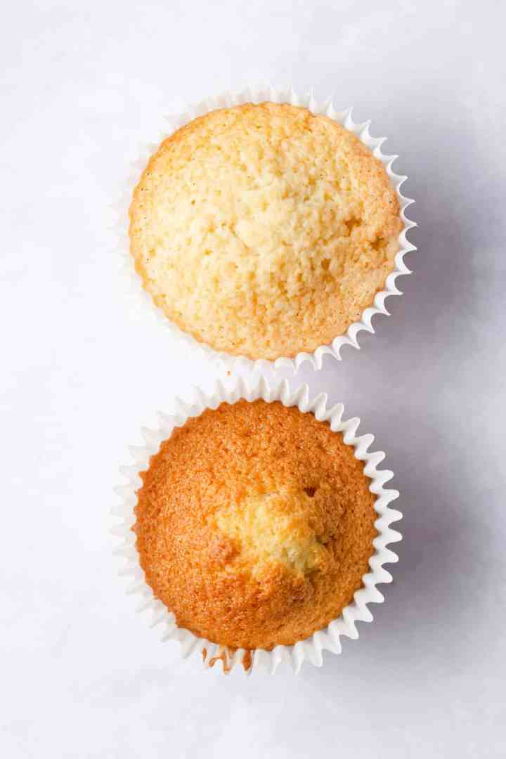 top view of two cupcakes showing different texture on top