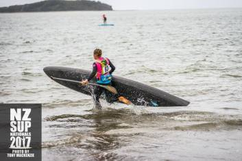 7 time NZ SUP Champion heading for the start of the 18km distance race