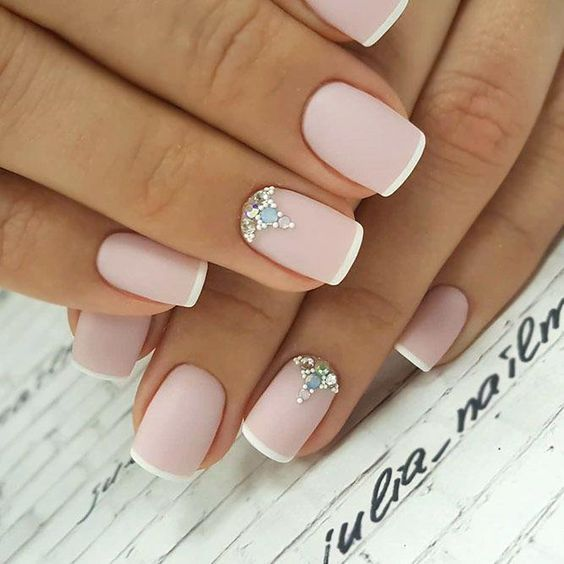 pink french nails with crystals
