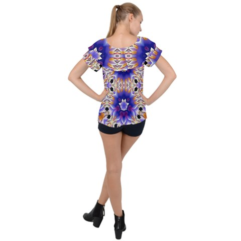 Big chiffon  top in blue fractal, back