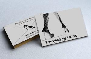 """Cartes de visite de """"The shoes must go on"""""""