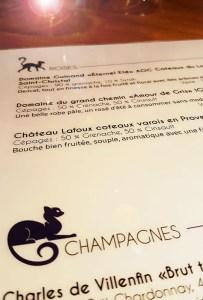 Carte des vins pour le bar Le Chat Bleu à Montpellier