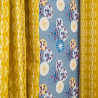Imperial Diamond Mustard Curtains | Hemlock Midnight Wallpaper - Image by Holly Booth