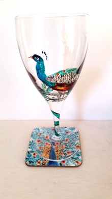 peacock-glass-coaster-set