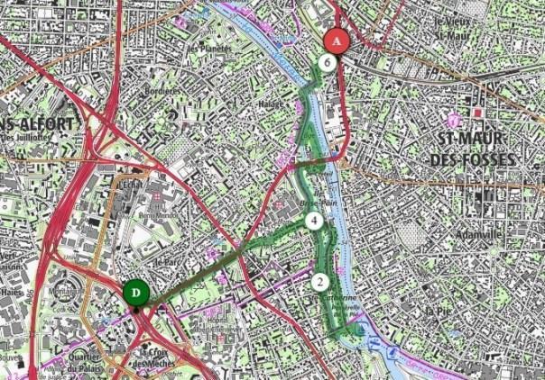 6 km walk from Créteil Université métro to St Maur-Créteil RER