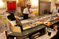 Chefs at the stand up sushi bar