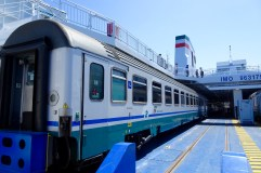 Train loaded onto the ferry to Sicily