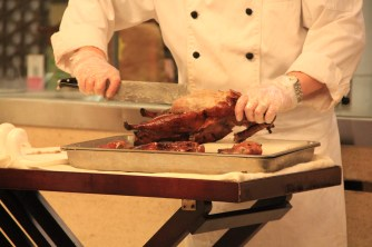 Peking Duck - ours being carved at the table by the chef
