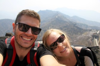 Taking a break at the Great Wall of China