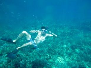 Hawaii Big Island - Ben snorkelling at 49 Black Sand Beach