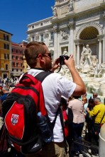 Matt taking pictures at the Trevi Fountain in Rome