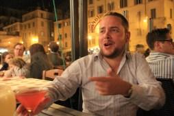 Matt enjoying a free cocktail in Rome
