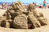 Sand sculptures on the beach in Barcelona