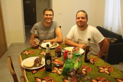 Ben and Matt getting ready to enjoy our home made burgers