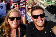 On the hop-on hop-off bus in Monaco with Ben's parents