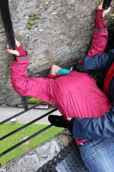 Anna kissing the Blarney stone - you can see how high up we were