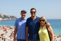 Ben with his parents at the beach in Nice