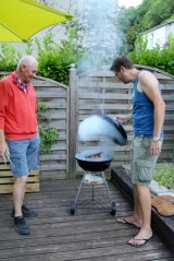 The boys barbecuing on our balcony in Brantome - 1