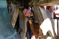 Ben making his way through the bell tower in Brantome