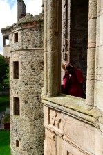 Anna taking pictures at Huntly castle