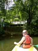 Canoeing to Bourdeilles - Anna with a view of our terrace