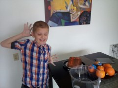 Gabriel doesn't like to have his picture taken - but he was very excited about Thanksgiving