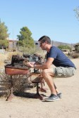 Ben getting an early start on the blog in Pioneertown (not sure what the typewriters were doing on the street!)