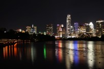 View of Austin Texas from the Lady Bird Lake boardwalk