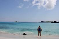 Ben relaxing on the beach on Espanola Island, Galapagos