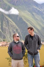 Ben and Matt on the balcony of our hotel in Ollantaytambo, Peru