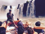 About to head under the waterfall, Iguazu Falls, Brazil