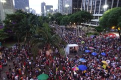 Carnival in Sao Paulo - everyone getting ready for a park concert