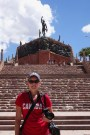 Anna in front of the 'Heroes of the Independence Monument' in Humahuaca, Argentina