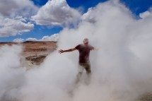 Ben getting engulfed in steam at the Manana Geysers in Bolivia