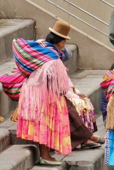 A woman in traditional Bolivian dress in La Paz