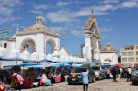 Cars waiting to be blessed at the cathedral in Copacabana, Lake Titicaca, Bolivia