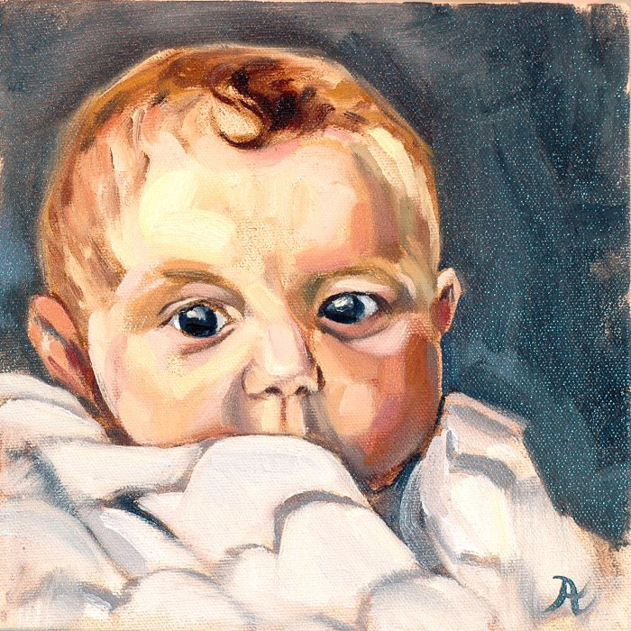 "Oil on canvas 8"" x 8"""